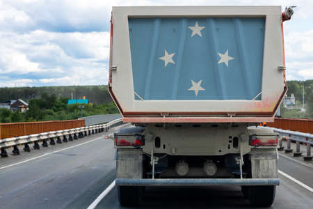 Big  truck with the national flag of Federal States of Micronesia