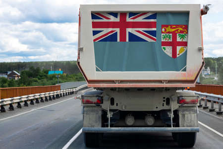 Big  truck with the national flag of  Fiji