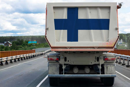 Big  truck with the national flag of Finland