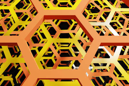 3d illustration of a white honeycomb monochrome honeycomb for honey. Pattern of simple geometric hexagonal shapes, mosaic background. Bee honeycomb concept, Beehive