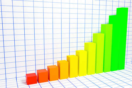 3d illustration of a bar graph with increasing columns from small to large on a white background. Bar chart infographic template. Abstract 3D digital business Infographic. Workflow process, business pyramid, banner, diagram, number options, work plan, web design. Archivio Fotografico