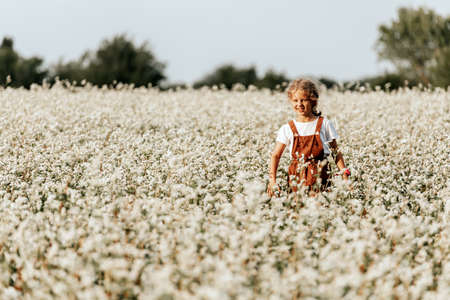 Portrait of a beautiful little girl in a brown sundress who runs across the field with white flowers, enjoying the day, on a sunny summer day. The concept of the unity of the child and nature, peaceful mood, environmental life