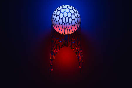 3d illustration of a blue-red ball covered with a net flies in the air on a black isolated background