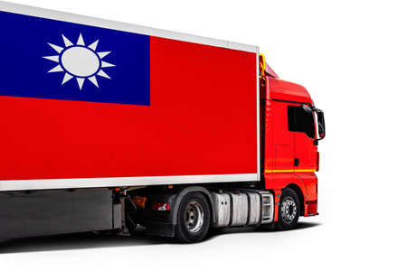 Big truck with the national flag of Taiwan on white isolated background, side view. Concept of export-import, transportation, national delivery of goods
