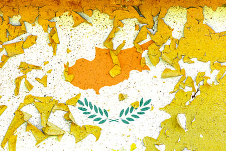 The national flag of Cyprus is painted on an old metal wall with ragged paint. Country symbol. Imagens