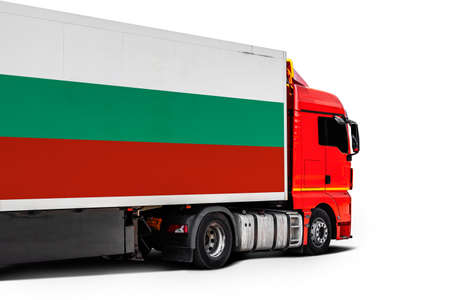 Big truck with the national flag of Bulgaria on white isolated background, side view. Concept of export-import, transportation, national delivery of goods