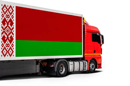 Big truck with the national flag of Belarus on white isolated background, side view. Concept of export-import, transportation, national delivery of goods Фото со стока