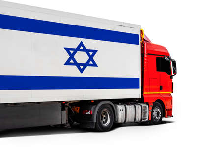 Big truck with the national flag of Israel on white isolated background, side view. Concept of export-import, transportation, national delivery of goods
