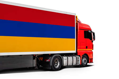 Big truck with the national flag of Armenia on white isolated background, side view. Concept of export-import, transportation, national delivery of goods