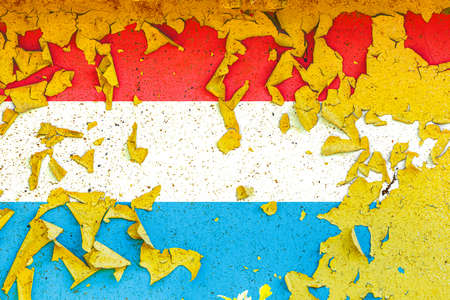 The national flag of Luxembourg is painted on an old metal wall with ragged paint. Country symbol.