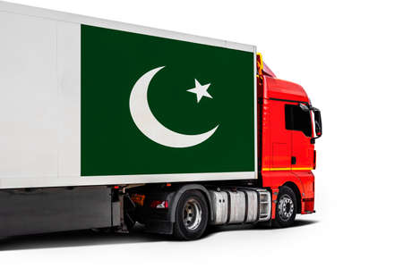Big truck with the national flag of Pakistan on white isolated background, side view. Concept of export-import, transportation, national delivery of goods