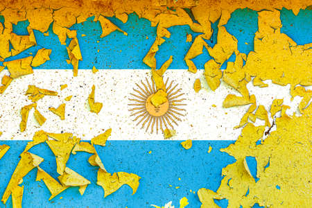 The national flag of Argentina is painted on an old metal wall with ragged paint. Country symbol.