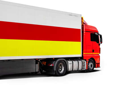 Big truck with the national flag of Ossetia on white isolated background, side view. Concept of export-import, transportation, national delivery of goods