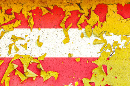 The national flag of Austria is painted on an old metal wall with ragged paint. Country symbol.