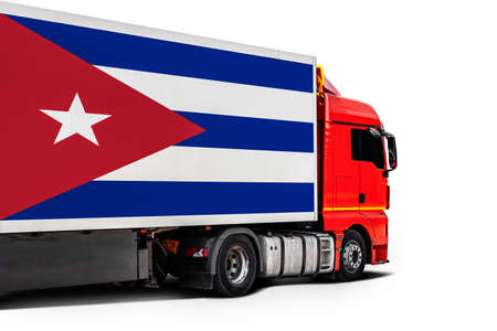 Big truck with the national flag of Cuba on white isolated background, side view. Concept of export-import, transportation, national delivery of goods