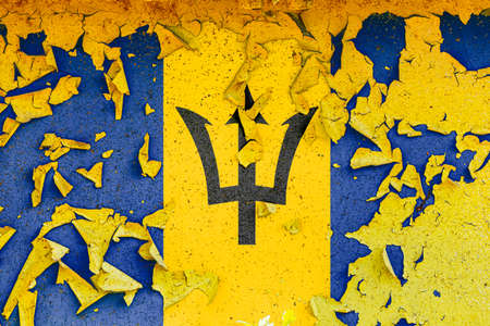 The national flag of Barbados is painted on an old metal wall with ragged paint. Country symbol.