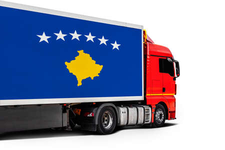 Big truck with the national flag of Kosovo on white isolated background, side view. Concept of export-import, transportation, national delivery of goods