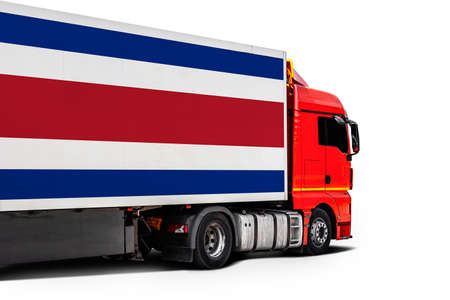 Big truck with the national flag of Costa Rica on white isolated background, side view. Concept of export-import, transportation, national delivery of goods