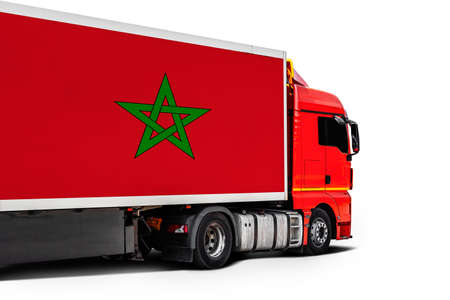 Big truck with the national flag of Morocco on white isolated background, side view. Concept of export-import, transportation, national delivery of goods Фото со стока