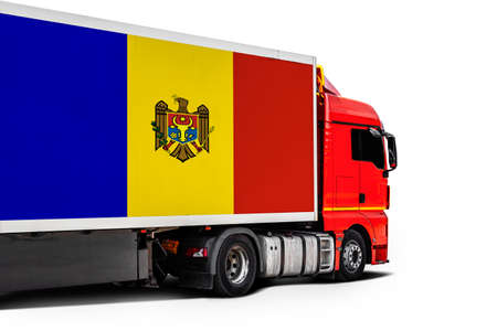 Big truck with the national flag of Moldova on white isolated background, side view. Concept of export-import, transportation, national delivery of goods Фото со стока