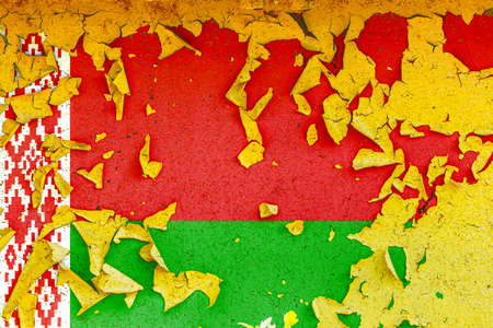 The national flag of Belarus is painted on an old metal wall with ragged paint. Country symbol. Фото со стока