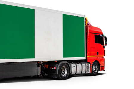 Big truck with the national flag of Nigeria on white isolated background, side view. Concept of export-import, transportation, national delivery of goods Фото со стока