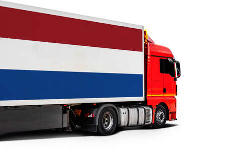 Big truck with the national flag of Netherlands on white isolated background, side view. Concept of export-import, transportation, national delivery of goods