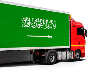 Big truck with the national flag of Saudi Arabia on white isolated background, side view. Concept of export-import, transportation, national delivery of goods