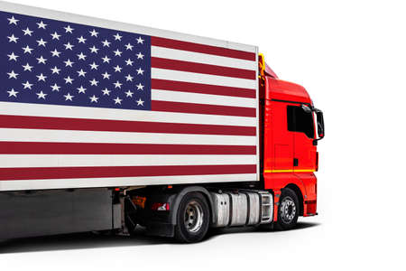 Big truck with the national flag of USA on white isolated background, side view. Concept of export-import, transportation, national delivery of goods