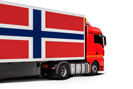 Big truck with the national flag of Norway on white isolated background, side view. Concept of export-import, transportation, national delivery of goods
