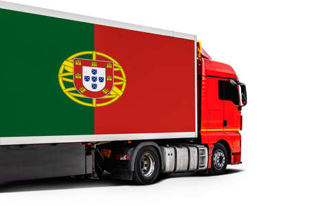 Big truck with the national flag of Portugal on white isolated background, side view. Concept of export-import, transportation, national delivery of goods
