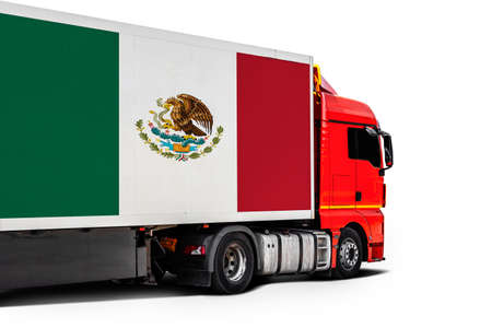 Big truck with the national flag of Mexico on white isolated background, side view. Concept of export-import, transportation, national delivery of goods Фото со стока