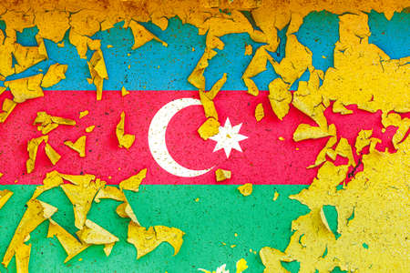 The national flag of Azerbaijan is painted on an old metal wall with ragged paint. Country symbol.