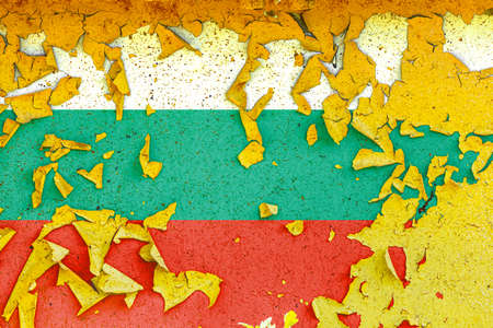 The national flag of Bulgaria is painted on an old metal wall with ragged paint. Country symbol.