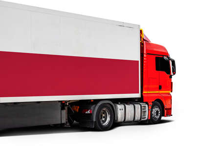 Big truck with the national flag of Poland on white isolated background, side view. Concept of export-import, transportation, national delivery of goods