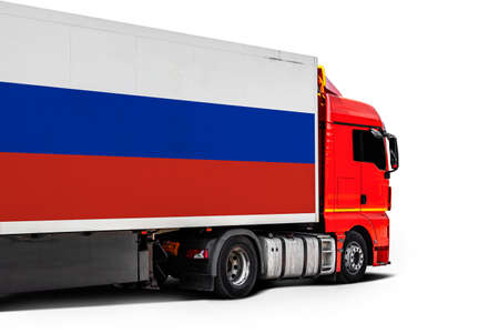 Big truck with the national flag of Russia on white isolated background, side view. Concept of export-import, transportation, national delivery of goods