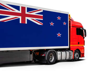 Big truck with the national flag of New Zealand on white isolated background, side view. Concept of export-import, transportation, national delivery of goods Фото со стока