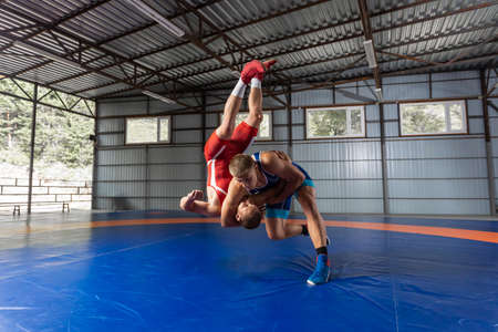 Two strong wrestlers in blue and red wrestling tights are wrestlng on a wrestling carpet in the gym. Young man doing grapple. Stockfoto