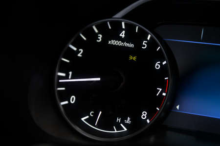 dashboard of the car is illuminated by bright circle tachometer Archivio Fotografico