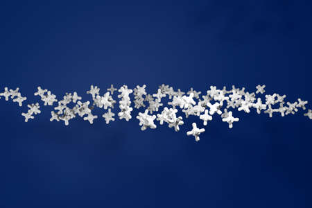 3D illustration pattern of large volumetric white crosses on a blue isolated background. Simple geometric textures and shapes 免版税图像 - 155394893