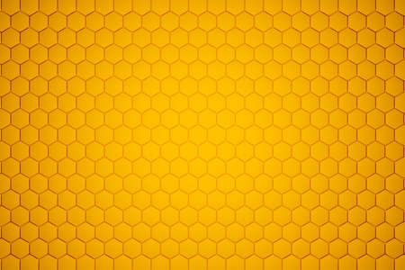 3d illustration of a yellow honeycomb monochrome honeycomb for honey. Pattern of simple geometric hexagonal shapes, mosaic background. Bee honeycomb concept, Beehive 免版税图像 - 155480016