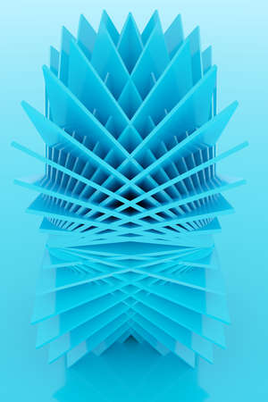 3D illustration volumetric blue square layers on a geometric monophonic background. parallelogram pattern. Technology geometry background. Origami concept 免版税图像 - 155475289