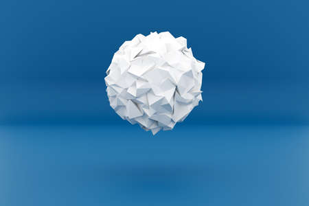 3d illustration of a white shape, consisting of a large number of crumpled paper. Futuristic origami. Cybernetic circle shape for use in science and technology. 免版税图像