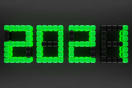 3D illustration inscription 2021 from small yellow green on a background. Illustration of the symbol of the new year. 免版税图像 - 155475185