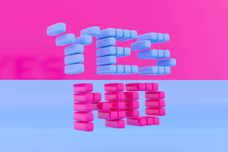 Inscription YES and NO made from pink and blue cubes on a monochrome isolated background. The concept of choice, uncertainty 免版税图像 - 155475338