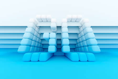 3D illustration inscription GO from small white cubes on a blue isolated background. Action and forward movement illustration 免版税图像 - 155475066
