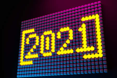 3D illustration inscription 2021 from small yellow cubes on a neon background. Illustration of the symbol of the new year. 免版税图像 - 155479835