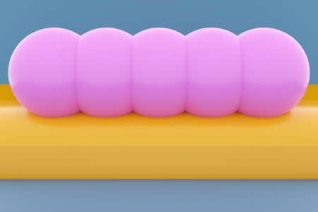 3D illustration pink caterpillar-like shape of circles on a geometric monophonic background. Shape pattern. T