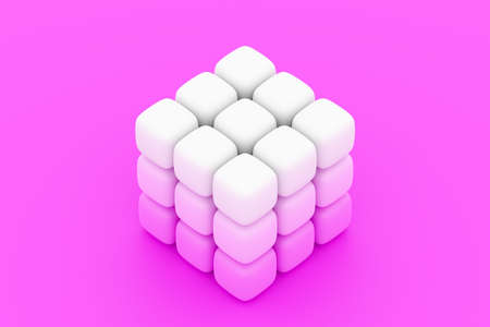 3D illustration of a neon white cube of small cubes on pink isolated background. Сyber cube in virtual reality. Futuristic geometric concept