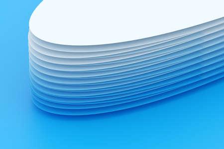 3D illustration volumetric blue oval layers on a geometric monophonic background. Shape pattern. Technology geometry background